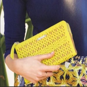 Stella & Dot Bright Yellow Folded Double Clutch